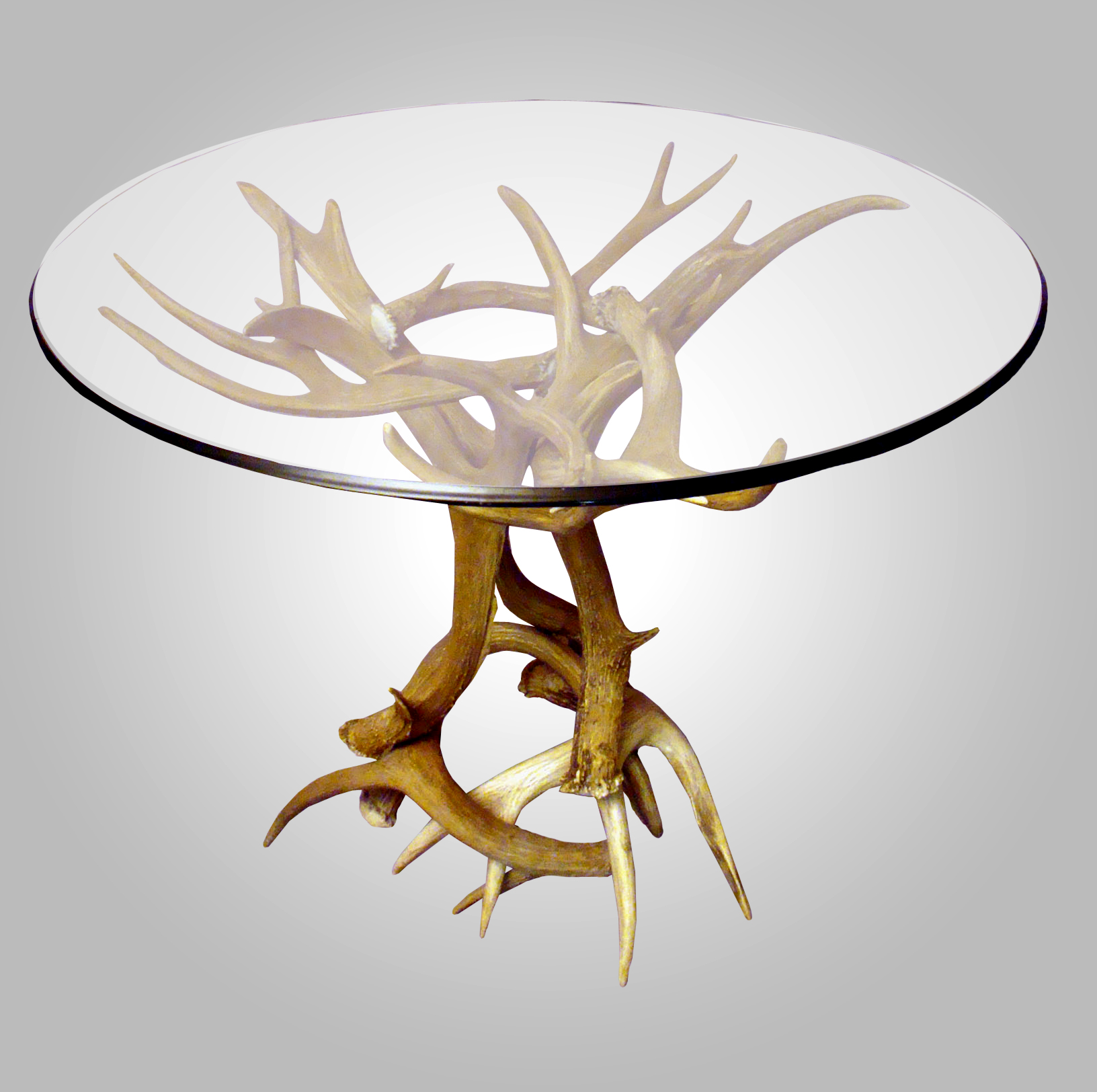 REAL ANTLER MULE DEER/WHITETAIL END TABLE, RUSTIC LIGHTING