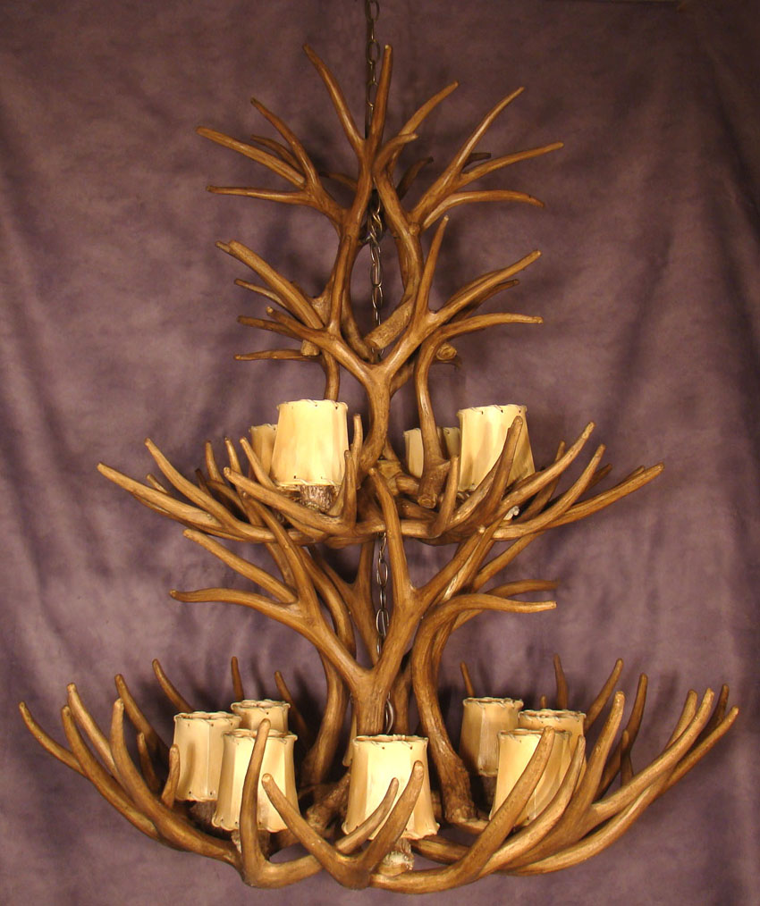 RESIN TWO TIER MULE DEER ANTLER CHANDELIER 12 LIGHTS LR10