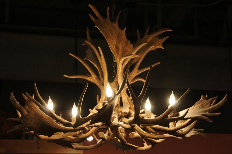 mule deer fallow cast antler chandelier rustic lights lamps rl22xl