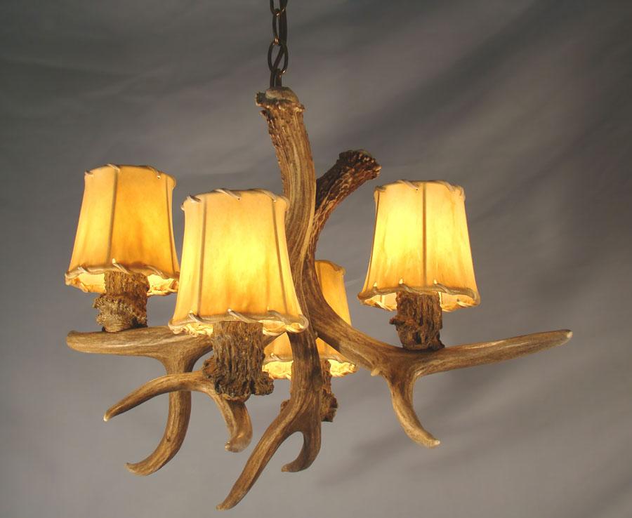 real antler mule deer chandelier 4 lights rustic lamp. Black Bedroom Furniture Sets. Home Design Ideas