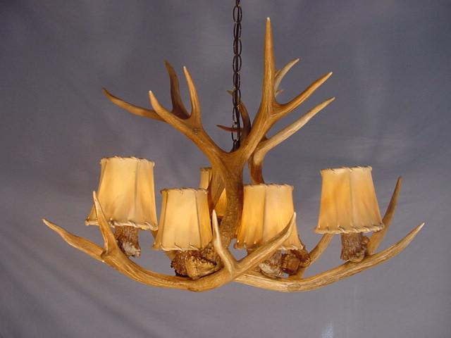 real antler mule deer chandelier 6 lights sp6 rustic lighting cabin