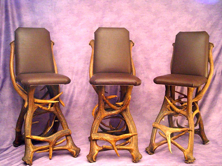 Real Antler Elk Bar Chair With Buffalo Hide Furniture