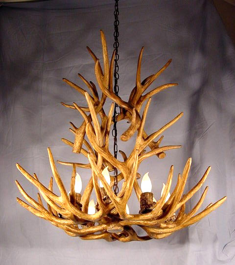 Faux mule deer cascade antler chandelier 9 lamps 28x25 rustic does not apply aloadofball Image collections