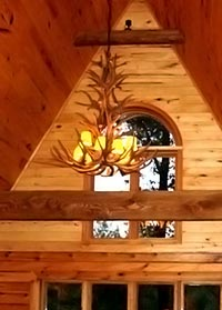 Reproduction Mule Deer  Tall Spruce Chandelier